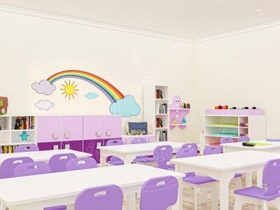 Anaokulu Mobilyası Gökkuşağı Mor Sınıf Konsepti, Anaokulu Fabrikası Ve Eğitim Araçları; Gökkuşağı Mor Renkli Dolap Grubu, Sanat Fon Karton Dolabı. Raflı Fen Doğa Köşesi Tasarımı.