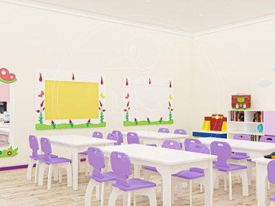 Anaokulu Mobilyası Gökkuşağı Mor Sınıf Konsepti, Anaokulu Fabrikası Ve Eğitim Araçları; Lale Boy Aynası, Ahşap Ayaklı Masa, MDF Sandalye Tasarımı.