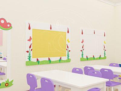 Anaokulu Mobilyası Gökkuşağı Mor Sınıf Konsepti, Anaokulu Fabrikası Ve Eğitim Araçları; Doğa Duvar Panosu, Doğa Yazı Tahtası Tasarımı.
