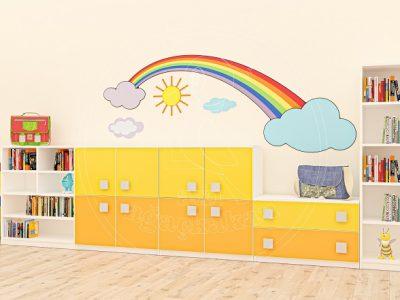 Anaokulu Mobilyası Gökkuşağı Sarı Sınıf Konsepti, Anaokulu Fabrikası Ve Eğitim Araçları; Gökkuşağı Dolap Grubu, Tamir Takım Köşesi Tasarımı.