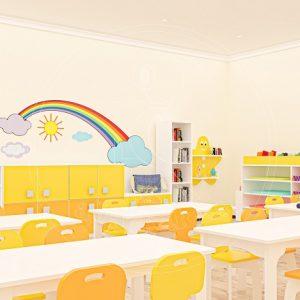 Anaokulu Mobilyası Gökkuşağı Sarı Sınıf Konsepti, Anaokulu Fabrikası Ve Eğitim Araçları; Gökkuşağı Dolap Grubu Tasarımı.