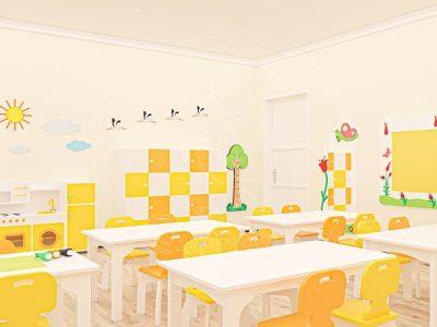 Anaokulu Mobilyası Gökkuşağı Sarı Sınıf Konsepti, Anaokulu Fabrikası Ve Eğitim Araçları; 20 Kişilik Kişisel öğrenci Dolabı, Büyük Buzdolaplı Mutfak Köşesi, Ağaç Boy Cetveli Tasarımı.