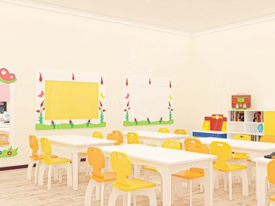 Anaokulu Mobilyası Gökkuşağı Sarı Sınıf Konsepti, Anaokulu Fabrikası Ve Eğitim Araçları; Lale Boy Aynası, Doğa Pano, Ahşap Ayaklı Masa, MDF Sandalye Tasarımı.