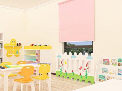 Anaokulu Mobilyası Gökkuşağı Sarı Sınıf Konsepti, Anaokulu Fabrikası Ve Eğitim Araçları; De Monte Raflı Fen Doğa Köşesi, Sanat Fon Karton Dolabı, Dikey Kitaplık, Lale Figürlü çit Tasarımı.