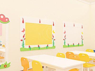 Anaokulu Mobilyası Gökkuşağı Sarı Sınıf Konsepti, Anaokulu Fabrikası Ve Eğitim Araçları; Sarı Doğa Pano, Doğa Yazı Tahtası, Lale Boy Aynası Tasarımı.