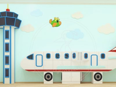Anaokulu Mobilyası Uçak Dolap Sınıf Konsepti; Ağaçkakan Mobilya Ve Eğitim Araçları Mobilya Fabrikası; Uçak Dolap, Uçuş Kulesi, Uçak Duvar Figürü, Bulut Duvar Figürleri Ile Tasarlanmış.