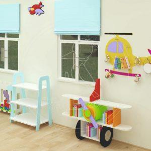 Anaokulu Mobilyası Uçak Dolap Sınıf Konsepti; Ağaçkakan Mobilya Ve Eğitim Araçları; Uçak Kitaplık, De Monte Raflı Fen Doğa Köşesi, Helikopter Müzik Köşesi, Güzellik Köşesi Tasarımı.