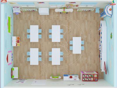 Anaokulu Fabrikası, Uçak Dolap Sınıf Konsepti Mobilyası, 3D Sınıf Yerleşim Planı, üstten Görünüm, Ağaçkakan Mobilya Ve Eğitim Araçları