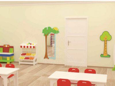 Anaokulu Mobilyası Balon Dolap Sınıf Konsepti; Ağaçkakan Mobilya Ve Eğitim Araçları Mobilya Fabrikası; Ahşap Ayaklı Masa, MDF Sandalye, Tamir Takım Köşesi, De Monte Manav Köşesi, Ağaç Boy Aynası, Ağaç Boy Cetveli Tasarımı.