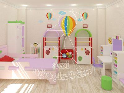 Anaokulu Fabrikası, Uçan Balon Konseptli Ev çocuk Odası Mobilyası, Faaliyet Köşesi, El Işi Dolabı, Uçan Balon Dolap Grubu