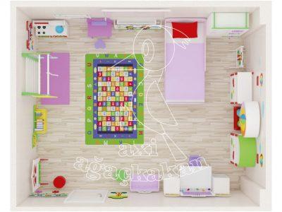 Anaokulu Fabrikası, Uçan Balon Konseptli Ev çocuk Odası Mobilyası 3D Yerleşimi
