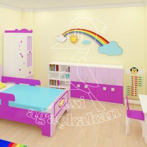 Anaokulu Fabrikası, Gökkuşağı Konseptli Ev çocuk Odası Mobilyası, 3 Boyutlu Gökkuşağı Figürü, Resim Köşesi, çocuk Yatağı