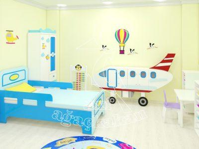 Anaokulu Fabrikası, Uçak Konseptli Ev çocuk Odası Mobilyası, 3D Uçan Balon Panosu