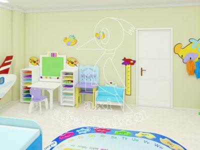 Anaokulu Fabrikası, Uçak Konseptli Ev çocuk Odası Mobilyası, çocuk Resim Köşesi, El Işi Rafı, Uçak Boy Cetveli, 3D Uçak Figürlü Askılıktan Oluşur.