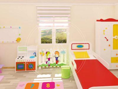 Anaokulu Mobilyası, Ev Konseptli çocuk Odası; Güzellik Köşesi, Yıldızlı Ve Renkli çocuk Dolabı, Kalorifer çiti, Abaküsten Oluşuyor