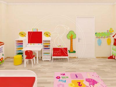 Anaokulu Mobilyası, Ev Konseptli çocuk Odası, Malzeme Dolabı, El Işi Kağıdı Dolabı, Ahşap Ayaklı Masa, Lake Boya Sandalye, Resim Köşesi