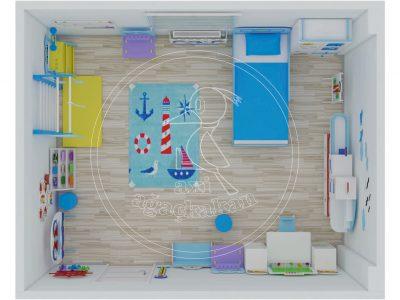 Anaokulu Fabrikası, Gemi Konseptli Ev çocuk Odası, Tepeden 3D Yerleşim Görünümü.