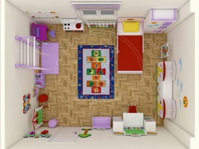 Mantar Konseptli Ev Cocuk Odası Mobilyası 3D Tepeden Görünümü Ve Oda Yerleşimi