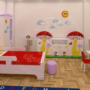 Mantar Konseptli Ev Cocuk Odası Mobilyası