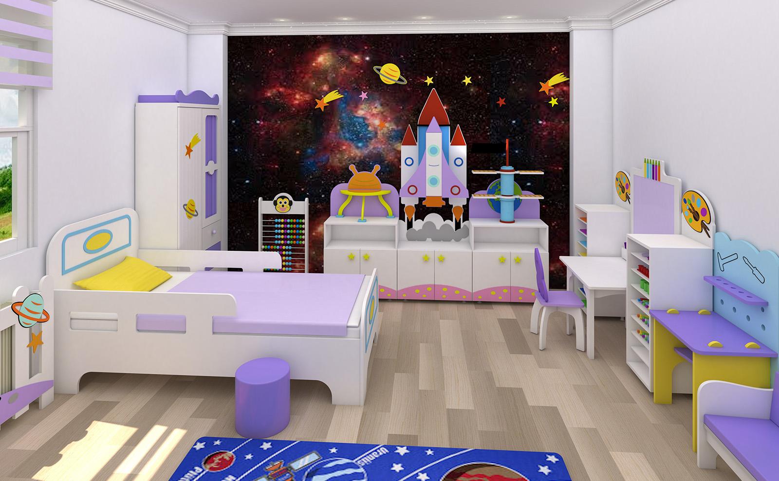 Anaokulu Mobilyası, Uzay çocuk odası konsepti, Uzay çocuk dolabı
